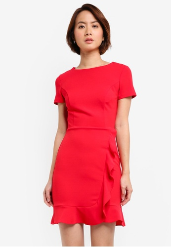 Lipsy red Ruffle Front Work Wear Shift Dress 43242AA631DCDBGS_1