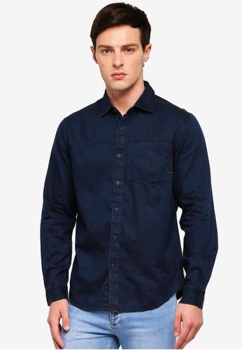 ESPRIT 海軍藍色 丹寧長袖襯衫 712E0AA8B9CC8AGS_1