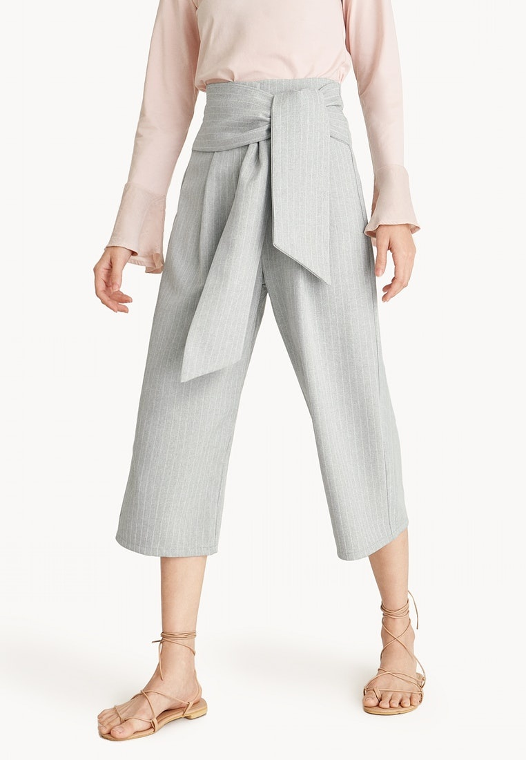 Light Culottes Pomelo Light Wrap Gray Striped Grey Waist qwcI7H6