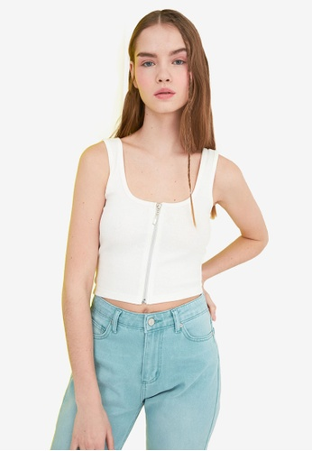 Trendyol white Zip Front Knitted Crop Top 093E6AA160F9CAGS_1
