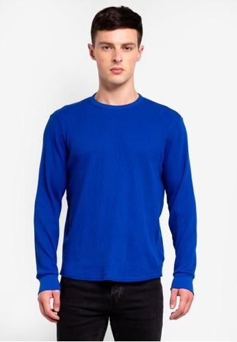 GAP blue Long Sleeve Waffle Crew Sweatshirt D7259AADB5F33AGS_1