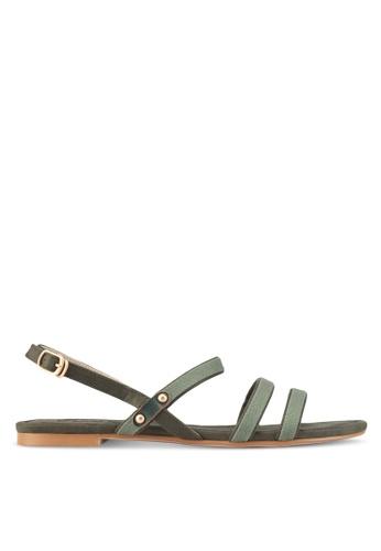 ZALORA green Canvas Detail Sandals 5550BSHF26AF81GS_1