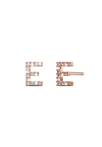 925 Signature silver 925 SIGNATURE Solid 925 Sterling Silver Glamour Alphabet Letter Earrings Rose Gold - E A94FFAC34D3ECCGS_1