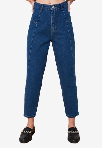 Trendyol blue High Waist Mom Jeans E3C4DAA5598709GS_1
