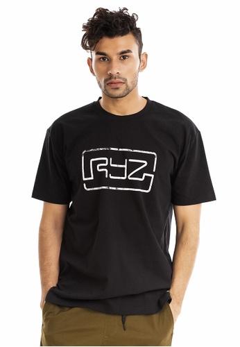 RYZ black RYZ Limited Edition CITY OF ROSES Signature Logo Black Short Sleeve T-shirt. FE86EAAF3C4197GS_1
