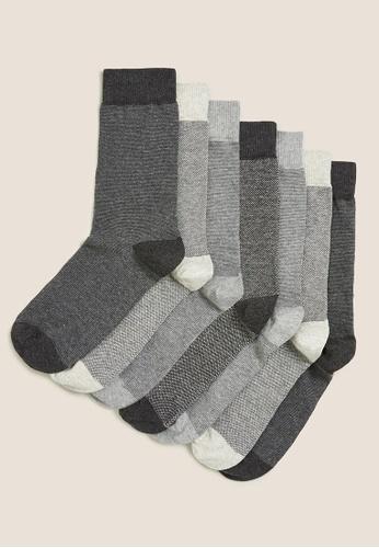 MARKS & SPENCER grey M&S 7Pk Cool & Fresh Socks AF719AAAA20DBCGS_1