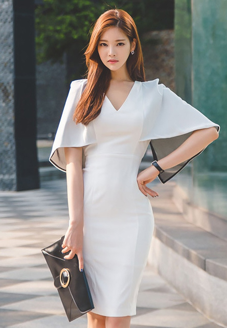 UA040315 white Choice Polyester Lady 2017 Work S Elegant Sunnydaysweety White S Dress PxwqHzUt