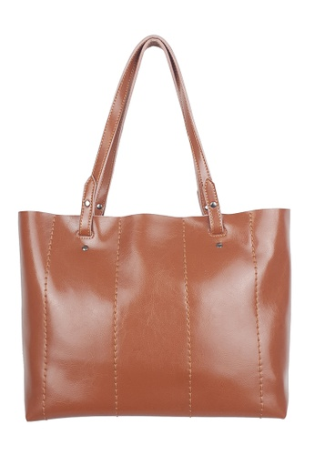 BELLE LIZ brown Brown Tote Chic Leather Women Bag A8F9BACFF3979BGS_1