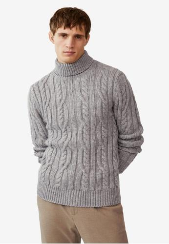 Mango Man grey Braided Turtleneck Sweater 00945AA9D2C13DGS_1