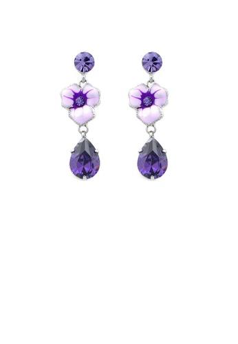 Glamorousky purple Purple Flower Earrings with Purple Austrian Element Crystal D5652AC7B2678AGS_1