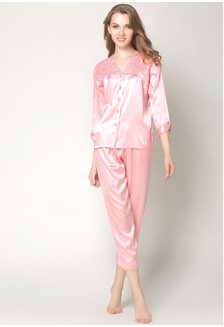 86b8a50f5d Silk Long Sleeve Long Pants Pyjamas Set L7019-Pink 6481AAA26DD055GS 1  SMROCCO ...