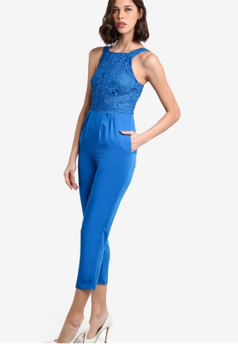 WAREHOUSE blue Int Floral Lace Top Jumpsuit WA653AA02NUVMY_1