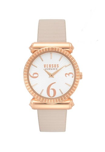 versus beige Versus Versace RÈPUBLIQUE Beige Leather Women Watch DC613AC71D0F62GS_1