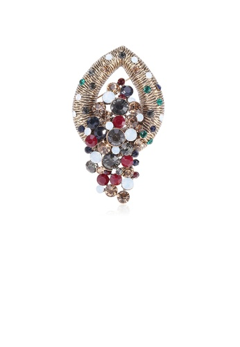 Glamorousky silver Fashion Vintage Plated Gold Geometric Brooch with Cubic Zirconia 31604AC31365A1GS_1