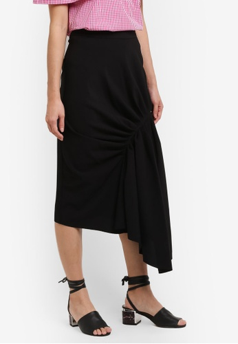 TOPSHOP black Ruched Drape Midi Skirt TO412AA0RI9WMY_1