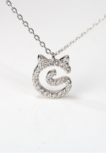 LYCKA silver LPP03612 S925 Silver Lovely Cat Necklace 13E11AC031AD8DGS_1