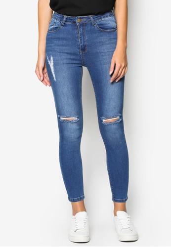 Ripped Knee Wzalora 衣服尺寸ashed Skinny Jeans, 服飾, 服飾