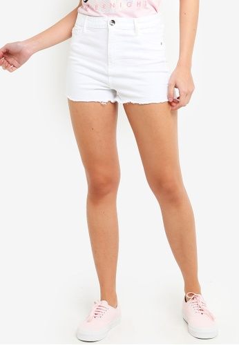 OVS white Stretch Cotton Fringed Shorts D8159AA923D91EGS_1