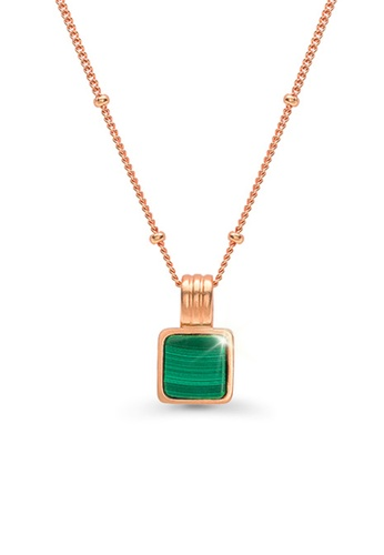CELOVIS green and gold CELOVIS - Cole Green Square Pendant Necklace in Rose Gold 241A0AC5CDC878GS_1