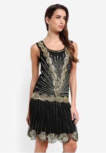 Frock and Frill black Zelda Flapper Dress FFD1EAAF47A3E9GS_1