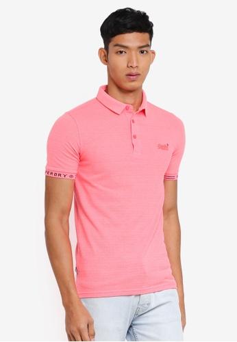 Superdry pink City Short Sleeve Jaquard Pique Polo Shirt 382F0AA1D57E3CGS_1