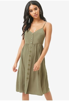 83cfe6490a3b Sizes S M L. FOREVER 21 green Button Front Cami Mini Dress  4AD16AAD424AE0GS_1
