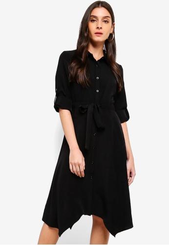 ZALORA black Asymmetric Drawstring Shirt Dress B862BAAD5E8716GS_1