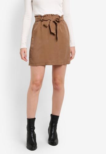 TOPSHOP brown Tencel Paperbag Tie Skirt TO412AA73ERIMY_1