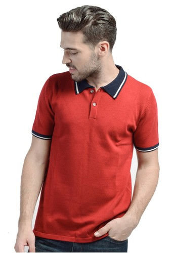 Knitwork Red Basic Polo Shirt