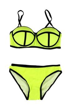 Neoprene Style Push-up Bandage Two Piece Bikini Set