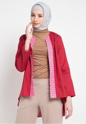 Aira Muslim Butik red and multi Elizaa Outer D7998AA6E9EAFCGS_1