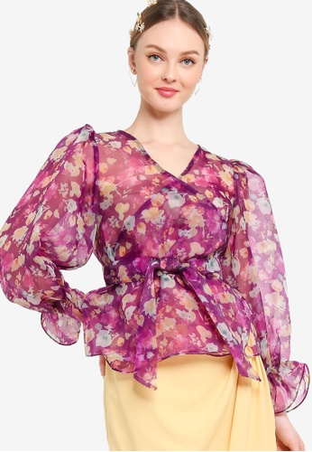 Lubna purple Printed Organza Wrap Top 955A0AAC0A31F1GS_1