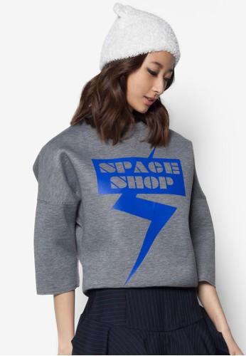 閃電字母七分袖上衣,zalora是哪裡的牌子 服飾, 服飾