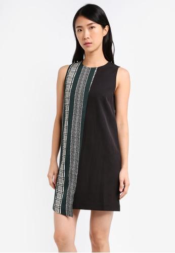 ZALORA black Shift Dress With Colourblock Overlay 0D881AA398AB3CGS_1