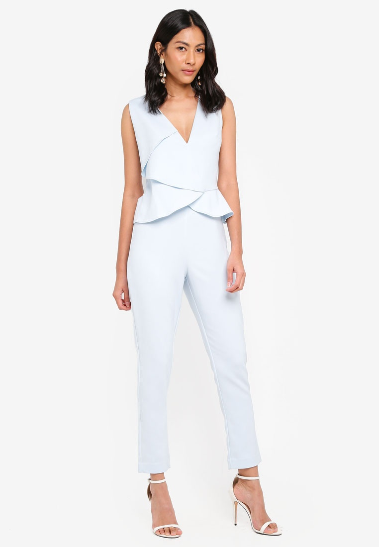 Blue Alice Lavish Jumpsuit Folded Peplum Origami Ice ZURdY