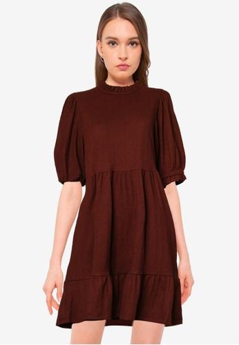 ONLY brown Zille 2/4 High Neck Dress A9AA1AAF1CD529GS_1