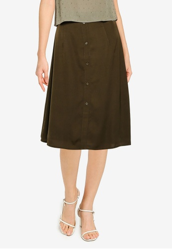 ZALORA BASICS green Button Drape Skirt ACB79AAB5E2479GS_1