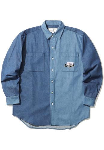 :CHOCOOLATE blue Colour block shirt A5F50AAC83B23BGS_1