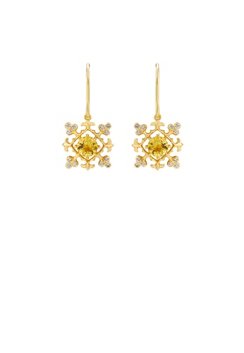 Glamorousky white 925 Sterling Silver Plated Gold Vintage Fashion Snowflake Earrings with Cubic Zirconia 47002AC74CA025GS_1