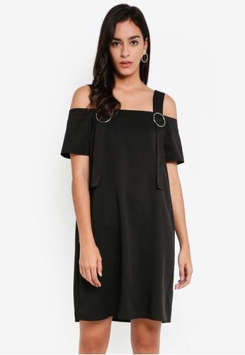 Something Borrowed black Strap Detail Shift Dress 69B85AAEB8A08DGS_1