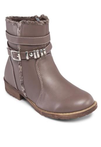Anya 層次扣環繞踝低筒靴, 女鞋,zalora 心得 鞋