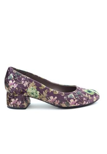 Shu Talk 紫色 高貴絨毛花花低跟鞋 SH544SH09PIUTW_1