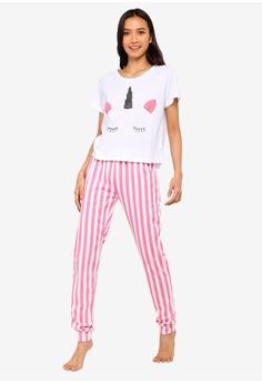 02e2a3f701 South Beach white and pink and multi Unicorn Face Tee   Pink Stripe Leg  Pajamas C6F0FAA51E2264GS 1