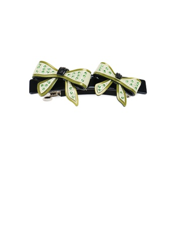 Glamorousky green Fashion Temperament Green Ribbon Hair Slide with Cubic Zirconia 63DC1ACFC9FCCAGS_1