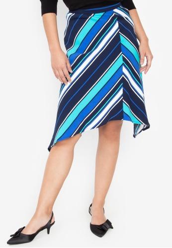 Wear Kris multi Kosher Stripe Skirt With Asymmetric Hem A7FB2AA416D257GS_1