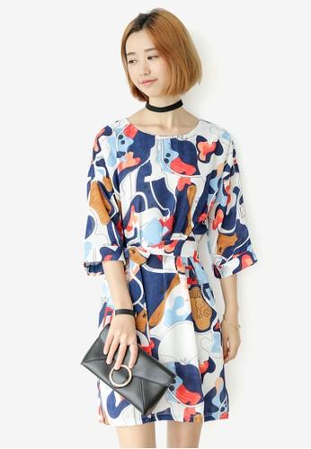 Ivie 印花直筒A 字連身裙,esprit童裝門市 服飾, 洋裝