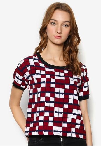 格紋針織短袖上衣, 服esprit 品牌飾, 上衣