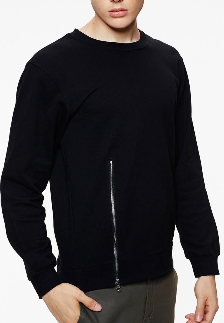 Cotton Black Rib Neck Zip Crew T With Black 03925 Shirt Life8 BBqr8p