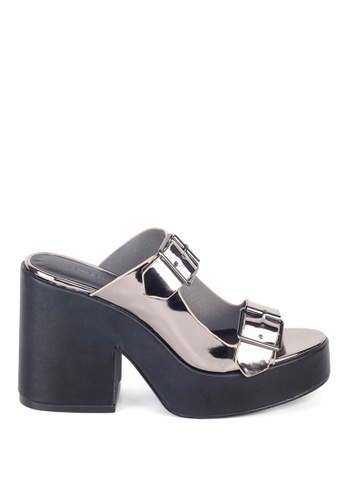 London Rag 銀色 女式欧美银色亮面粗跟凉鞋 86814SH903DA46GS_1
