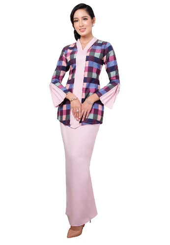 SARIMA grey and pink and blue and purple Kebaya Checkered Purple Pink Grey A42AAAA9042074GS_1
